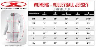 Volleyball Size Chart Sizing Charts