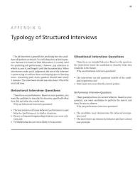 Situational Based Interview Questions Appendix G Typology Of Structured Interviews Practical