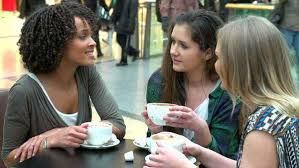 Image result for Women sitting around and talking drinking coffee