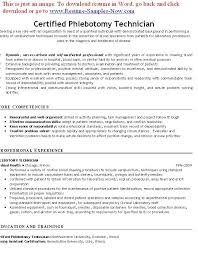 Free Phlebotomy Resume Examples Resumes 2018 Tips 8621