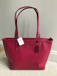 COACH City Zip Tote Shoulder Bag Purse Hot Pink Crossgrain Leather F58846