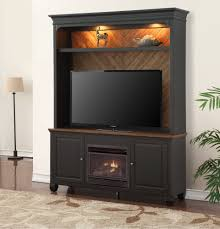Antique Black TV Stand with Fireplace and Hutch - Brighton Hickory