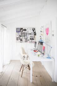 colorful feminine office furniture. Delighful Furniture Feminine Office Space With Pops Of Pastel Colors And Sheep Throws Over Mod  White Chairs And Colorful Office Furniture