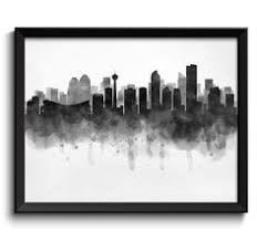 Small Picture Calgary Skyline Watercolor Art Print Poster Housewarming Home