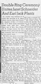 1951 04/07 Double Ring Ceremony Unites Janet Schneider and Jack Plantz -  Newspapers.com