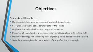 graphing sine and cosine 2 objectives