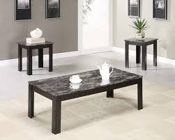 coaster 3 pc black faux marble top