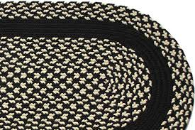 black cream black band braided rug