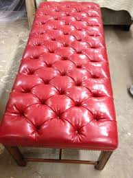 bench tufted red leather