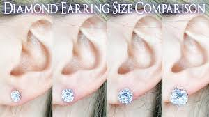 Earring Carat Size Chart Earring Diamond Size Comparison 1 Carat On The Ear Vs 25 To 4 Ct 33 4 5 66 75 8 9 1 2