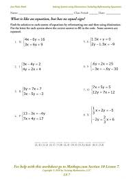 Solving Systems Equations Worksheets Algebra Two Variables 001 ...