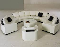 ... Semi Circular Sectional Sofa White And Black Combination Sofas With  Some Three People Small Circle Table ...
