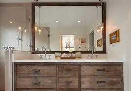 bathroom vanity bathroom rustic with wall decor double sinks recessed lighting