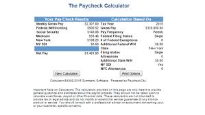 Paycheck Calculator 2015 Paycheck Tax Calculator Nyc Examples And Forms