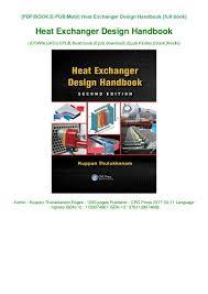 Kuppan Architectural Designs Pdf Heat Exchanger Design Handbook Book Kuppan Thulukkanam