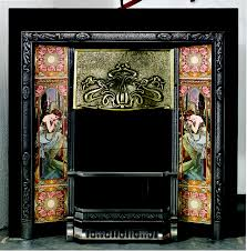 traditional art nouveau tiled front fireplace by stovax gazco