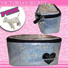 victoria s secret logo stripe makeup pouch cosmetics sequin vanity case