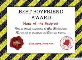 Best Boyfriend Award Template Love Certificate Templates Best