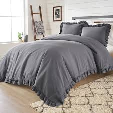 better homes gardens full or queen raw edge ruffle grey duvet cover set 3 piece com