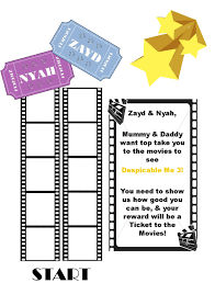 My Kids Movie Reward Chart Start At The Bottom We Used