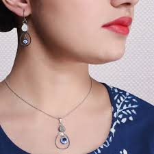 indigo blue long frock with evil eye pendant set