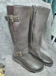 b o c leather boots wide calf brown woman s 6