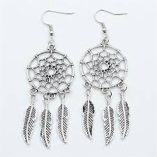 Dream Catcher Earing 100 100 Styles Handmade Indian Style Antique Silver Feather Drop 46