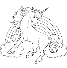 Small Picture Unicorn Horse With Rainbow Coloring Page For Kids Clipart