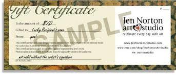 gift certificates format gift certificates jen norton art studio