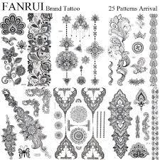 драгоценности черных временных татуировок хна мандала цветок рука руки