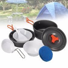 8Pcs Portable <b>Outdoor Cooking</b> 1 <b>Set</b> Camping Hiking <b>Cookware</b> ...