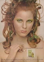 1970s ma griffe perfume ad vine fragrance advertising redhead woman with green eye makeup photo print vanity salon wall art decor