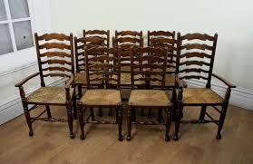 set of 10 oak farmhouse ladder back chairs