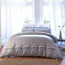 bianca cottonsoft brushed cotton duvet cover and pillowcase set grey super king linens limited