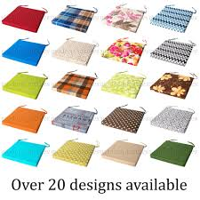 dining chair seat pads kitchen cushions velcro ties thick italian fabric cushion tie on garden full