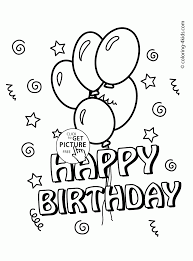 Small Picture Happy Birthday Card with Balloons coloring page for kids holiday