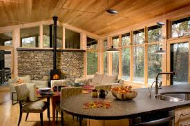 natural wood interior with glass wall and cool curved you