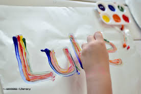 Image result for finger paints trace letters