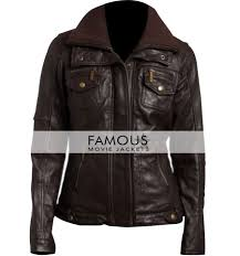 1 review for women double collar brown er leather jacket