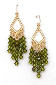 03 04 925 olivine crystal chandelier earrings
