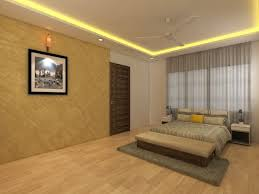 wooden flooring bedroom with wall decor and false ceiling