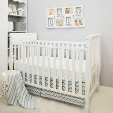 simple clics blue gray chevron 3 piece baby crib bedding set