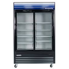 2 sliding glass door refrigerator in black