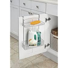 under kitchen sink cabinet. MDesign Over-the-Cabinet 2-Tier Storage Shelf - Kitchen Wire Hanging Basket Chrome Under Sink Cabinet