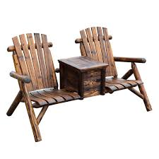 wooden outdoor two seat adirondack patio chair w ice bucket wooden lawn chairs for wooden
