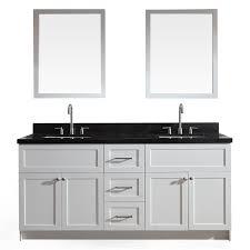 ariel hamlet white double sink vanity with black granite top common 73 in