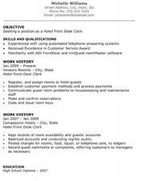 hotel front desk clerk resume hotel front desk resume