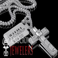 details about real 10k white gold over silver simu diamond mini cross pendant charm chain