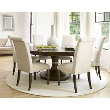 image of round rug under dining table