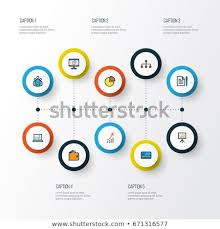 Unity Pie Chart Business Colorful Outline Icons Set Collection Stock Vector